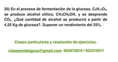 Ejercicio 20. Tema: Rendimiento (reacciones químicas)