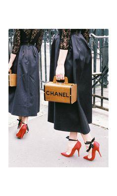 Chanel wooden purse