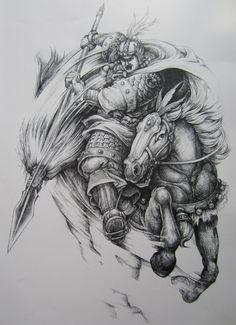 Full Tattoo, Full Back Tattoos, Horse Tattoo Design, Tattoo Designs, Kabuto Samurai, Oriental, Warrior Tattoos, Chinese Martial Arts, Japan Tattoo