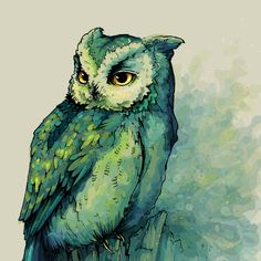 Impressão artística Green Owl