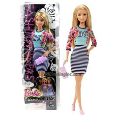 Mattel Year 2014 Barbie Fashionistas Series 12 Inch Doll Set - BARBIE (CLN61) in Sporty Stripes Dress with Floral Accents Plus Purse