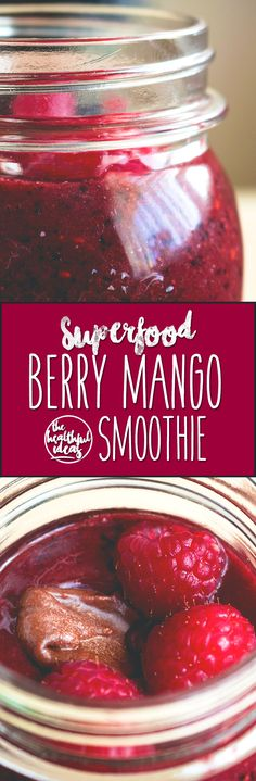 Superfood Berry Mango Smoothie - vegan, healthy, and delicious, this smoothie is the perfect breakfast to start your day with! I love this recipe! Smoothies are great for busy mornings - you can eat them on the go! | thehealthfulideas.com