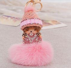 Cute monchichi fur ball pompom keychain