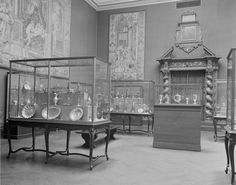 The Metropolitan Museum of Art, Wing H, Gallery 12; View of the Morgan Collection of Western decorative arts, facing southeast. Photographed on April 12, 1921.