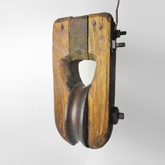 Vintage Single Block and Tackle Wood Pulley - TL050 - Vintage single block and tackle all wood pulley bolted together. 6 inch wood wheel FOR SALE