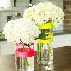 Make a plain centerpiece pop with this simple (and non-permanent) way to add neon color to your vases. Easiest DIY ever!
