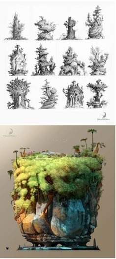 Graphic Art: Drawing – Trabalhos de Nicolas Weis para The Croods Fantasy Landscape, Fantasy Art, Landscape Concept, Landscape Art, Vegetal Concept, Environment Concept, Matte Painting, Environmental Design, Visual Development