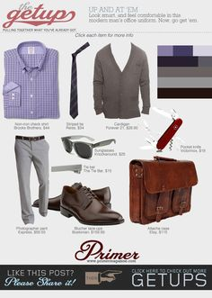 """The Primer features #Bostonian lace-up bluchers in a """"modern man's office uniform."""""""