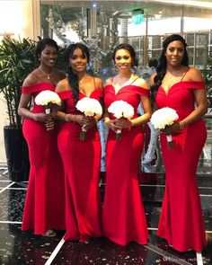 bce7f14b1f8 2018 Elegant Off The Shoulder Bridesmaid Dresses Mermaid Red Satin South  Africa Style Maid Of Honor Wedding Guest Gown Custom Made Hot