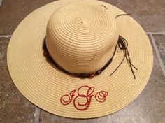 How to monogram a straw hat with your embroidery machine