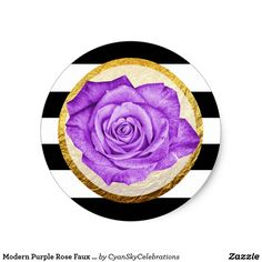 """Modern Purple Rose Faux Gold Foil Striped Wedding Classic Round Sticker Fresh, elegant, and gracefully modern! Designed for a bold visual impact with luxurious style. Please note that the faux gold foil is a printed visual effect only and does not represent real foil texture on the finished product. For most realistic shine, printing with glossy finish is recommended. Easy customization! Click the """"Customize It"""" button to re-size the rose, add text, or move and re-size text as needed."""