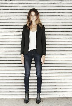 Dark denim, white t-shirt, black blazer, ankle boots