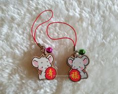 Wooden Charms Set - Cotton and Mist (Fortune, Bless, Happiness) Year Of The Rat, Mists, Charms, Blessed, Happiness, Colours, Christmas Ornaments, Holiday Decor, Happy