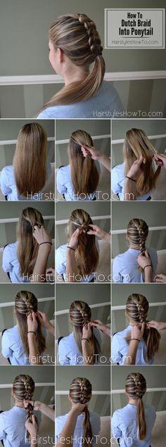 50 Trendy Dutch Braid Hairstyle Ideas to Keep You Cool #braids #braidedhair #dutchbraid #hairstyle Braided Ponytail, Ponytail Hairstyles, Pretty Hairstyles, Hairstyle Ideas, Hair Ponytail, Hair Styls, Hairstyle Short, Braid Hair, Protective Hairstyles