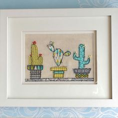 Anyone else obsessed with cactus and succulents? A perfect gift, one of a kind freehand machine stitched applique picture. There are also two smaller matching ones to complete the set. Natural linen background and double mount with white wood frame Best Embroidery Machine, Freehand Machine Embroidery, Free Motion Embroidery, Machine Applique, Free Motion Quilting, Hand Embroidery, Applique Patterns, Applique Designs, Embroidery Designs
