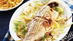 An amazingly easy-to-prepare, delightfully sweet whole fish is paired with mild roasted fennel and onions, plus couscous – a complete meal with just 8 grams of fat.