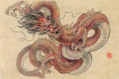Art Vampire, Vampire Knight, Red Dragon, Dragon Art, Japanese Tattoo Art, Japanese Art, Cosplay Steampunk, Contour Drawing, Japanese Dragon
