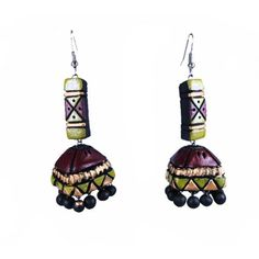 Brown and gold long terracotta Jhumka