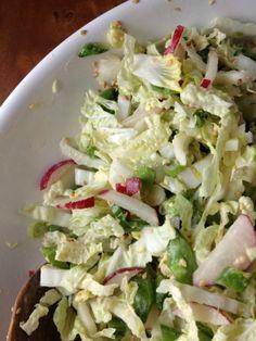 sugar snap salad with miso dressing- smitten kitchen cookbook