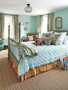 Bring in a little maturity with a stately, mid-range neutral, such as camel brown: http://www.bhg.com/decorating/color/blue-paint-colors/?socsrc=bhgpin031514greenwithblues&page=8