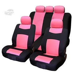 Yupbizauto Black Flat Cloth with Embroidery Butterfly Logo Front and Rear Car Seat Covers Support 50//50 60//40 Rear Split Seat