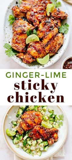 Incredible sweet and spicy Asian sticky chicken, grilled and glazed with a sweet ginger chili sauce. Serve with rice and a squeeze of lime.