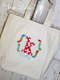 Personalized Tote Bag Monogrammed Applique Bridesmaid, Birthday, Teacher, Church, Library, Thank you...Gift