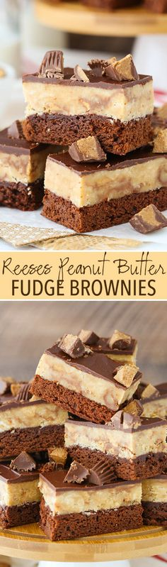 Reeses Peanut Butter Fudge Brownies - chewy brownie, peanut butter reeses fudge and more chocolate and reeses on top! So good!