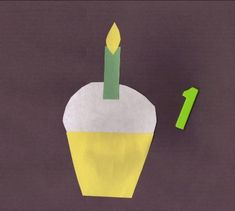 Preschooler Number Craft - 1 candle on 1 cupcake craft.