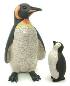 ceramic raku fired handmade baby penguin white by 247gallery  This reminds me of one our mom had!