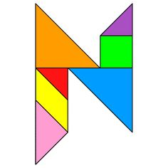 Tangram Letter N - Tangram solution #125 - Providing teachers and pupils with tangram puzzle activities