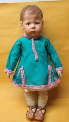 "1931 German Kathe Kruse 17"" Painted Head Cloth Doll Great Original Condition   eBay"