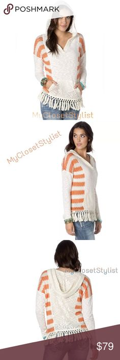 "Anthropologie NWT Hooded Poncho Fringe Top! XS/S Stripes, floral lace inserts, and tasseled fringe at hem add spice to a hooded poncho detailed with a v-neckline and kangaroo pocket. Fabulous crochet hooded top sold at Anthropologie by Miss Me. Great for the beach!   - V-neck - Long sleeves - Hood - Open Knit construction - Kangaroo pocket - Fringed hem - Approx 26"" length (size S)  Self: 71% cotton, 27% polyester, 2% spandex Contrast: 100% polyester Sleeves: 88% acrylic, 12% poly   New with…"