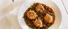 Pork meatballs with lentil and pea sauce