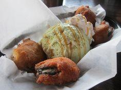 deep fried oreos and green tea ice cream