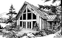 Home Plans HOMEPW24386 - 2,273 Square Feet, 1 Bedroom 2 Bathroom Chalet Home with