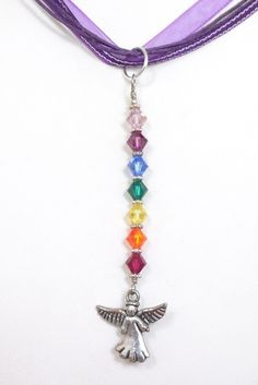 Chakra Angel Pendant Necklace Handmade Swarovski Crystal Beaded Pendant Wicca Angel Pendant Gifts for Her Sterling Pendant Necklace #650 by AlsSpiritualJewelry on Etsy
