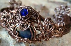 """Custom, Entwined Artwear & Gifts Swarovski Crystal and Natural Precious Blue Sapphire Artwear Bracelet """"Entwined"""" With Copper."""