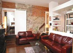 Post And Beam, Old Stone, Industrial Loft, Brick Wall, Beams, The Neighbourhood, The Unit, Couch, Flooring