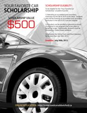 Your Favorite Car Scholarship--Open to students planning to attend, or currently attending, a post-secondary insitution by the fall of 2014 in a program that is 2 years or longer. April 30th Deadline.