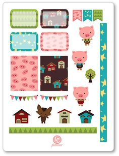 One 6 x 8 sheet of little pigs decorating kit/weekly spread planner stickers cut and ready for use in your Erin Condren life planner, Filofax, Plum