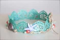 Mermaid Inspired Beach Baby - Aqua Blue Lace Crown with Sea Shells and Pearls - Perfect Newborn Photo Prop