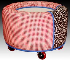 'Hybrid' - our pat.pend. round CROWN ottoman that combines a fabulous footrest, clever storage, elegant extra seating, and chic tabletop all in one 'masterpiece'...no tray required!