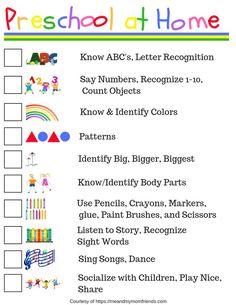 Preschool at Home - Free Printable Checklist - meandmymomfriends.com