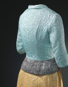 Balenciaga Evening ensemble. Jacket in silver and blue cloqué, and skirt in silver and gold cloqué  1965 Worn by Grace Kelly, Princess of Monaco.