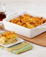 {Eggo® Egg Bake} Waffles combined with eggs, bacon and cheese isn't just for breakfast. This easy casserole also works well for a casual supper or easy lunch. What's For Breakfast, Breakfast Dishes, Breakfast Recipes, Snack Recipes, Cooking Recipes, Breakfast Casserole, One Pot Meals, Easy Meals, Baked Eggs