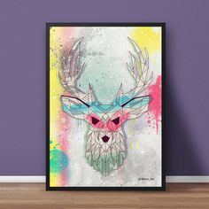 poster - paint deer - decoração sem marca