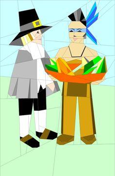 "Pilgrim and Indian 12x16"" Paper Pieced quiltartdesigns.blogspot.com"