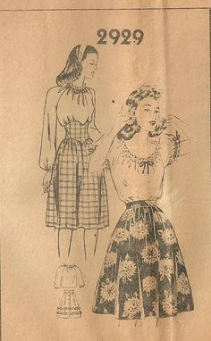 Vintage 40s Mail Order Sewing Pattern 2929 by studioGpatterns, $8.50