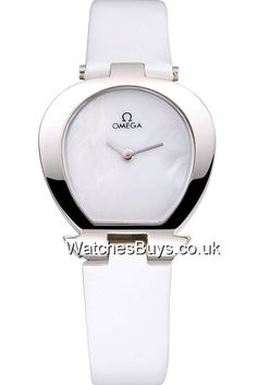 Showy Omega Ladies Women Size White Color Horseshoe-shaped polished stainless steel bezel Quartz watches [WB05902] UK